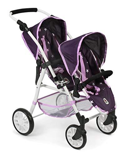 Bayer Chic 2000 691 71 Tandem-Buggy Twinny, Zwillingspuppenwagen für Puppen bis 50 cm, Stars lila