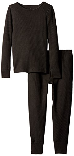 Fruit of the Loom Big Girls' Waffle Thermal Underwear Set, Black, 14/16