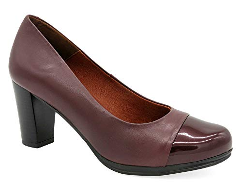 Desireé Bequeme Pumps Damen Bordeaux dunkel-rot Echt-Leder Gr 38 7-cm Absatz Lackleder-Kappe Total-Flex Büro Office Freizeit Damen-Schuhe elegant schön Ultra-flexibel 1148 Made In Spain