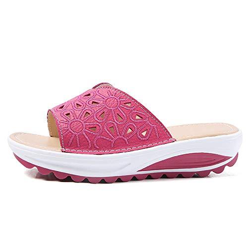 ypyrhh Sandales et Pantoufles à Fond Mou Quatre Saisons,Pantoufles d'impression de Trou de Paix,Pente inférieure épaisse avec Chaussures de Plage-Rose Rouge_38,Chaussures de Bain Femmes