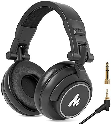 Over Ear Monitor Kopfhörer mit 50mm Treiber, MAONO AU-MH601 Studio Stereo Headset mit Kabel, HiFi Kopfhörer, 6.35 & 3.5mm Klinke, Share-Port, Geschlossene Kopfhörer für Musik, DJ, Podcast (Silber)