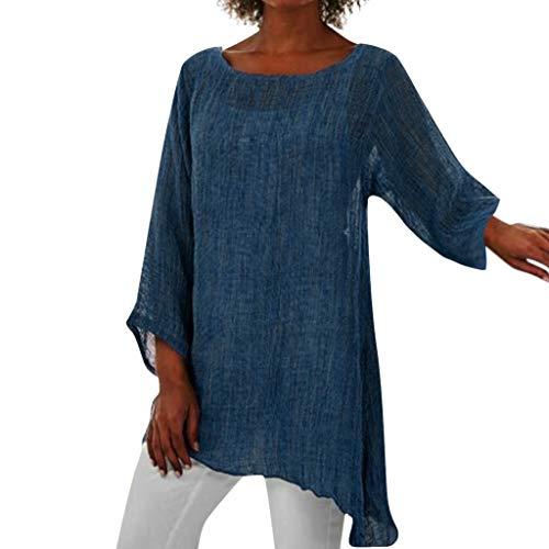Exteren – Blusa de Manga Larga para Mujer, de Lino, para Verano, Talla Grande, Azul, XL