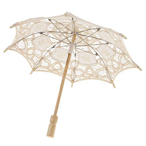 Sharplace Dentelle Parapluie Floral Artisanal Style Oriental Parasol Elégant Romantique Accessoires de Mariage - Beige
