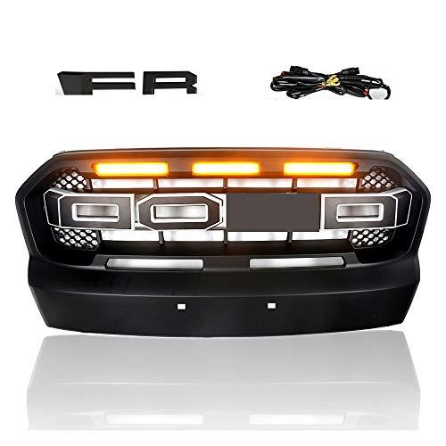 Ranger Wildtrak Limited Accessories 2015-2017 Rejilla Frontal de Radiador ABS Parrilla Delantera Con luz LED para Ranger T7 Wildtrak XL XLT XLS 2015-2017 Negro Brillante