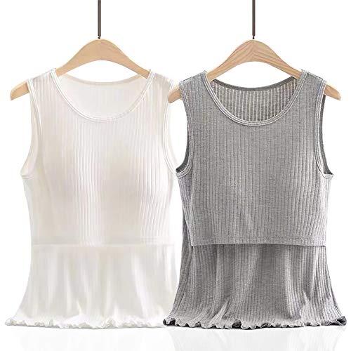 LUlala 授乳服 マタニティルームウェア パジャマ インナー 授乳タンクトップ 授乳服 2枚組 産前 産後 Tシャツ インナー 年中使える マタニティウェア 授乳Tシャツ 授乳口付き パジャマ ルームウェアセット(授乳口:横切れ) (XL,グレ+ホウイ