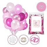 100 Globos rosas de látex + Cinta rosa + Soportes + Pegatinas de pared de...