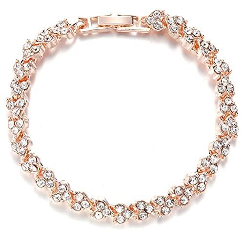 COTTILE Pulsera de mujer de plata con circonitas, cristal, para cumpleaños, boda, regalo para madre, novia, esposa, dama de honor
