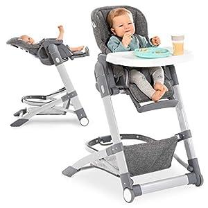 Hauck - Trona evolutiva Grow-Up - Trona bebe plegable con bandeja y ruedas - Trona reclinable con altura regulable -Tronas para bebes - Gris Jaspeado