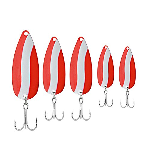 SOUTH BEND Spoons, Red/White, 5-Pack