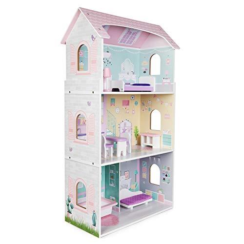 boppi Casa de muñecas de Madera para niñas con 3 Pisos + 8 Muebles para Jugar