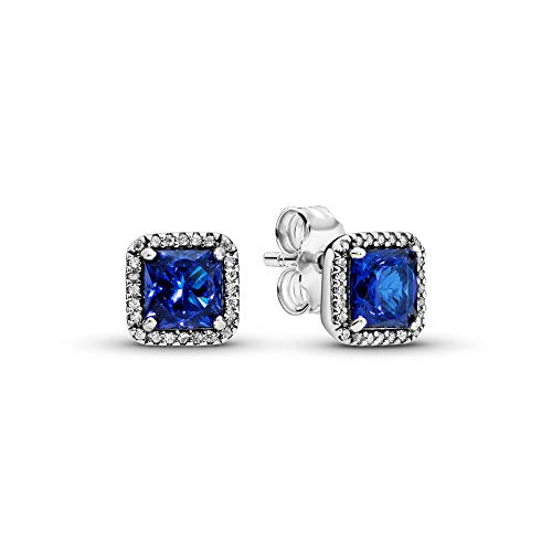 Pandora Jewelry Blue Square Sparkle Halo Stud Crystal and Cubic Zirconia Earrings in Sterling Silver