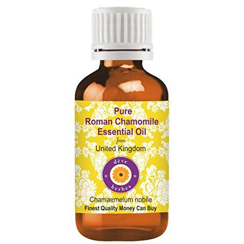 Huile essentielle de camomille romaine pure Deve Herbes (Chamaemelum nobile) 100% naturelle de qualité thérapeutique distillée à la vapeur 10ml (0,33 oz)