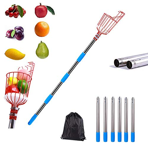 Professional Fruit Picker Basket with Telescopic Extension Pole,8ft Twist-On Fruit Catcher Harvester with Storage Bag,Portable Metal Fruit Picking Tool