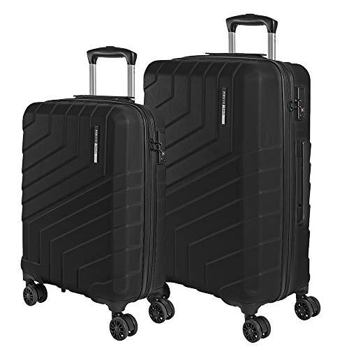 Set di Valigie Trolley da Viaggio Rigide - Bagaglio a Mano e da Stiva Ultra Leggeri in ABS con Manico in Alluminio - Chiusura TSA e 4 Ruote Doppie Girevoli - Perletti Travel (Nero, S+M)