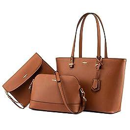 LOVEVOOK Lot de 3 sacs à main pour femme avec poignée supérieure en PU, marron (Marron) – na