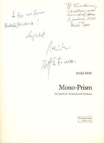 Mono-Prism (1976). Für japanische Trommeln und Orchester. Große Studien-Partitur. Edition Moeck Nr. 5192. Mit handschriftlicher signierter Widmung des Komponisten.