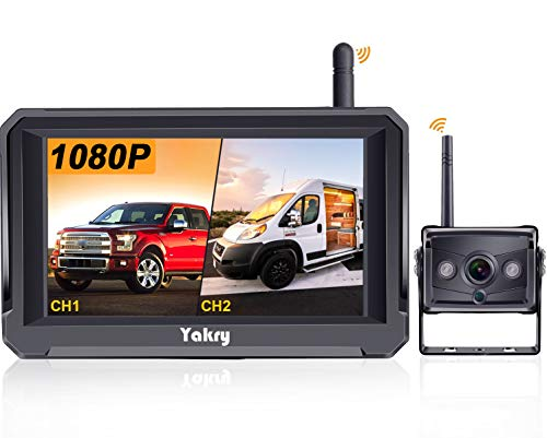Yakry Y22 HD 1080P Digital Wireless Backup Camera 5'' Monitor Kit Hitch Rear View Camera System for RVs,Campers,Trucks,Vans IP69K Waterproof