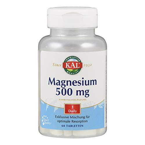 Kal Magnesium | 500mg | 60 Tabletten | vegan | ohne Gentechnik | ohne Zucker | laktosefrei | glutenfrei | Nahrungsergänzungsmittel mit Magnesium | wichtiger Mineralstoff für den Körper
