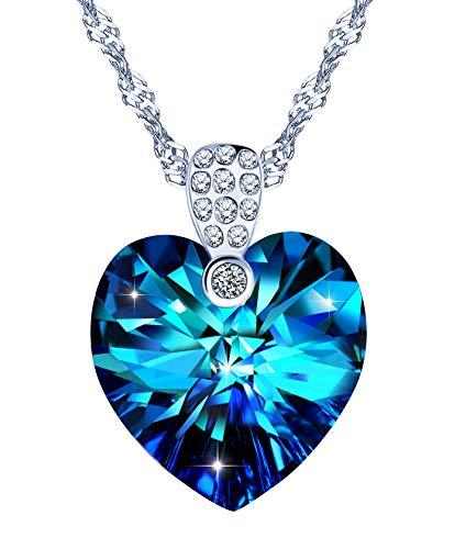 Yumilok Damen Halskette mit Anhänger Herz blau