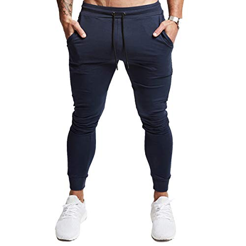 A WATERWANG Men's Slim Jogger Pants, Tapered Athletic Sweatpants for Jogging Running Exercise Gym Workout Navy
