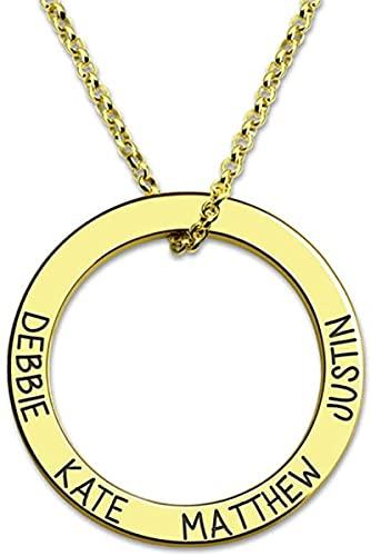 Lakabara 925 collar de anillo con nombre grabado para damas de plata esterlina, colgante de abuela para damas Oro