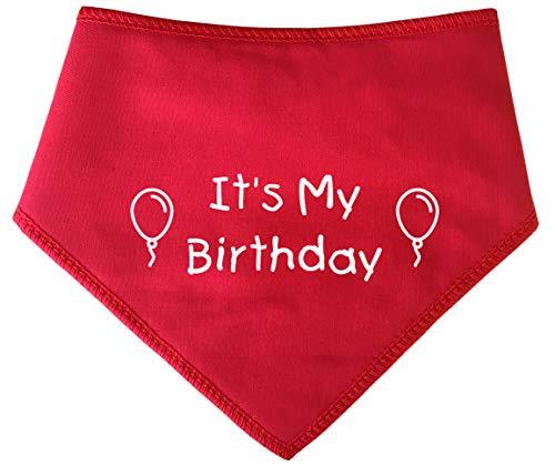 Spoilt Rotten Pets S3 Hundehalstuch mit Aufschrift It's My Birthday, Größe M, Rot Geeignet für Golden Retriever, Dalmatiner, Labrador und Staffie