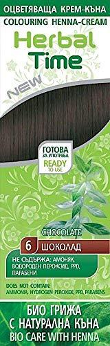 Haarfärbecreme mit Henna und Nesselextrakt - Farbe Schokolade 6, ohne Ammoniak, ohne Sulfat, ohne Parabene