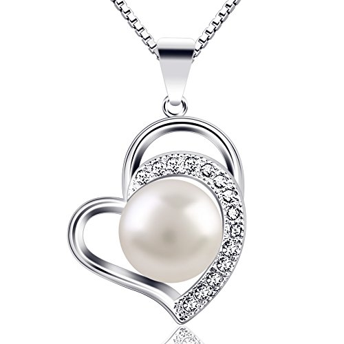 """B.Catcher Pearl Necklace for Women """"Only Love You"""" 925 Sterling Silver Pearl Necklaces Pendant Cultured Freshwater Pearl Necklace,18''"""