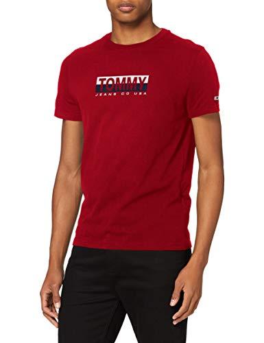 Tommy Hilfiger Tjm Tommy Contrast Box Tee Camicia, Rosso Vinaccia, L Uomo