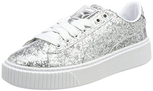 Puma PUMA Damen Basket PlatformGlitter Sneaker, Grau (Silver-Silver), 40.5 EU