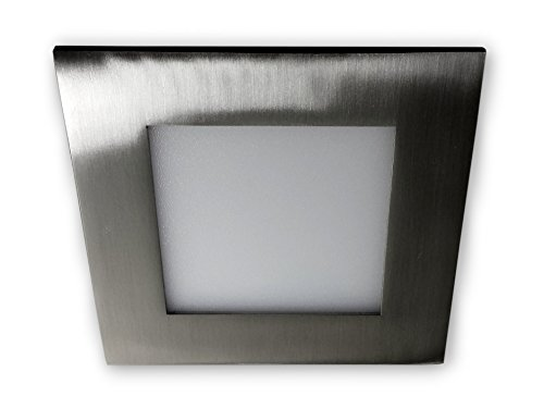 Preisvergleich Produktbild 6 W LED mini Panel Einbaulampe quadratisch 230 V - Edelstahl Optik alu gebürstet