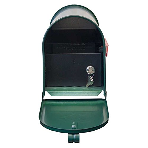 Qualarc E1-MLBX-LKIT-GRN Rust Proof Galvanized Mailbox with Locking Insert, Steel Latch and Red Aluminum Flag, Green