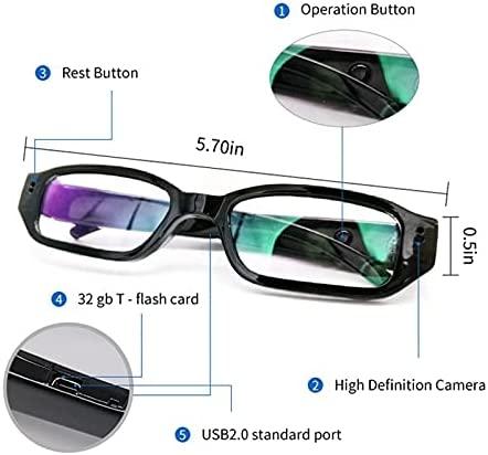 USB Charging Mini Eyeglass Spy Camera with Full HD 1080P Audio and Video Recording for Indoor and Outdoor Usage Hidden Camera