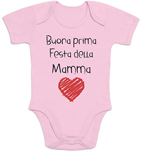 Regali per la Mamma Buona Prima Festa della Mamma Body Neonato Manica Corta 0-3 Mesi Rosa