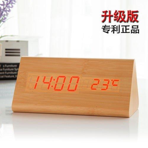 Komo houten wekker met led, creatief, voor de persoonlijkheid van de leerlingen, minimalistisch, elektronisch, mute-retro, nachtkastje, digitale wekker, Delta hout, kleur rood