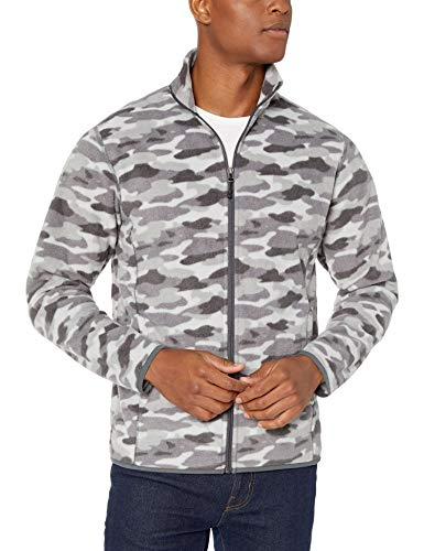 Amazon Essentials Men's Full-Zip Polar Fleece Jacket, Grey Camo, Large