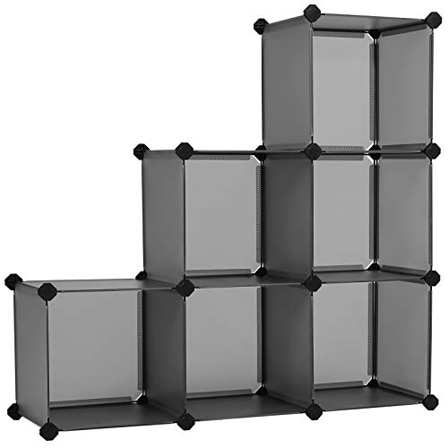 SONGMICS Cube Storage Organizer, 6-Cube Bookshelf, Customizable Plastic Cabinet, Modular Bookcase, Storage Shelving for Bedroom, Living Room, Home Office, with Rubber Mallet, Gray ULPC06G