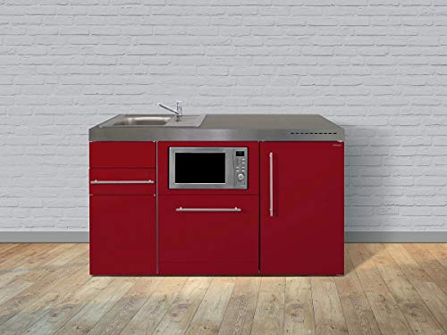 Stengel Miniküche Premiumline MPGSM 150 Kleinküche mit Kühlschrank, Geschirrspüler, Mikrowelle und Glaskeramikkochfeld, Pantryküche, Singleküche - Farbe: bordeauxrot/Breite: 150cm