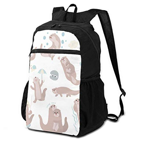 Daypack Hiking Cute Sea Otter Playing in The Water Packable Backpack for Women Hiking Backpack Lightweight Daypack Lightweight Waterproof for Men & Womentravel Camping Outdoor