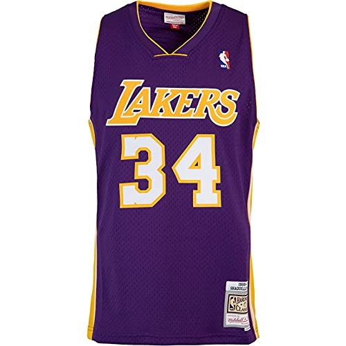Mitchell & Ness Swingman Shaquille O´Neal L.A. Lakers 99/00 - Camiseta (talla XL), color morado y amarillo