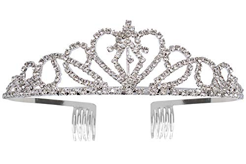 Didder Silver Crystal Crowns For Women Tiaras With Comb, Rhinestone Princess Crown Tiara For Women Girls Elegant Headband Bridal Wedding Prom Birthday Party