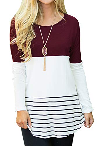 Sherosa Women's Casual Wear Striped Tops Crew Neck Back Lace Shirts (Wine Red,XL) …