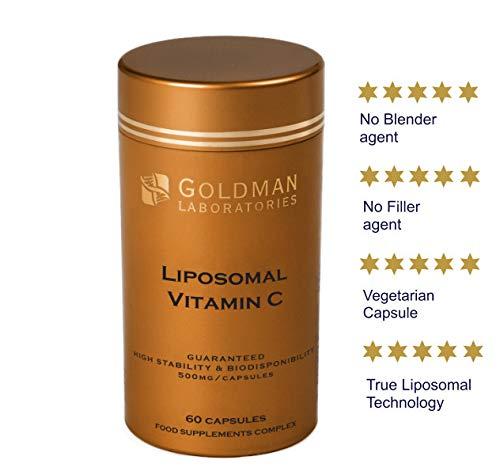 VITAMINE C LIPOSOMALE 500mg - Dose puissante Vitamine C I Encapsulée pour une biodisponibilité maximale I 100% non-OGM et végétalienne I Complément alimentaire - 60 Capsules Vegan