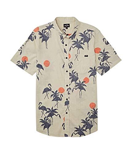 Billabong Men's Sundays Floral Short Sleeve Shirt Beige Large