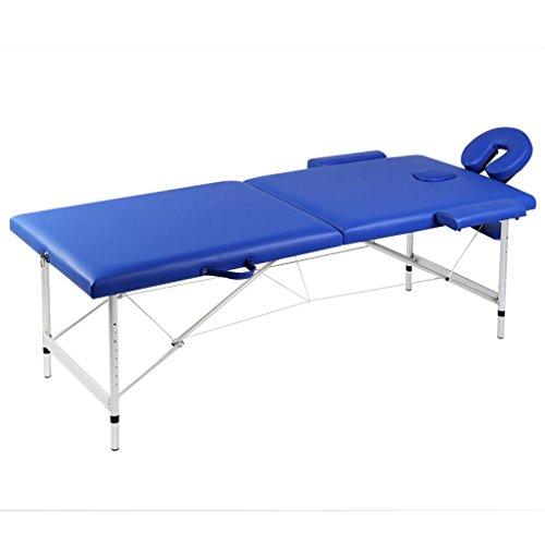 Mesa de Masaje Banco en Aluminio 2 Secciones Ligera Portátil y plegable Camilla de Masaje Azul