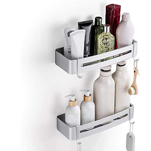 MUFENA 2 paquetes de estantes de esquina de ducha de baño, estantes de esquina de ducha, organizador de ducha de aluminio, sin perforación, estante de baño autoadhesivo organiza con 4 ganchos