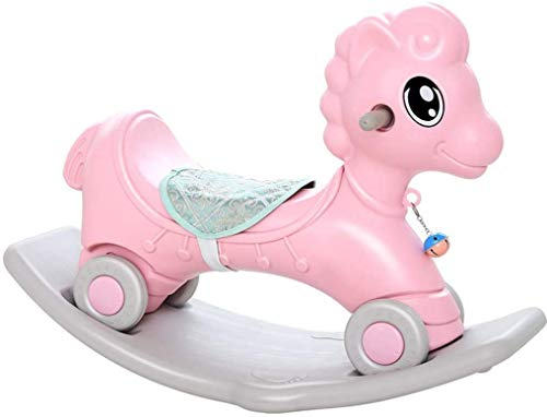 Aaedrag Rocking horse Trojan Child Plastic One Year Old Baby Toy 1-2 Years Old Birthday Gift (Color : Pink, Size : With music)