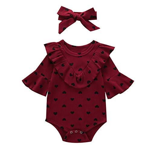 Carolilly - Body de manga larga para bebé y niña, diseño de corazones granate 0-6 meses
