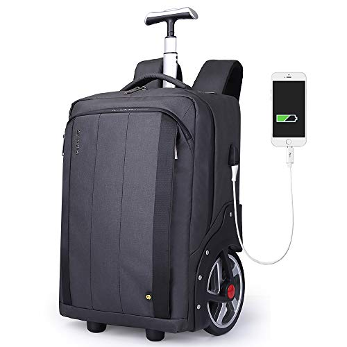 Aoking Large Capacity Waterproof 18' Laptop Trolley Backpack with USB Charing Port Fashion Rolling Luggage for Business Office Travel College