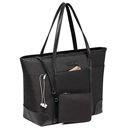 VASCHY Laptop Handtasche Damen, Groß 15.6-17 zoll Notebooktasche Wasserabweisend Laptop Tasche Shopper Tote Bag Schultertasche Aktentasche für Arbeit Reise Lehrer mit Gepäckband-Schwarz